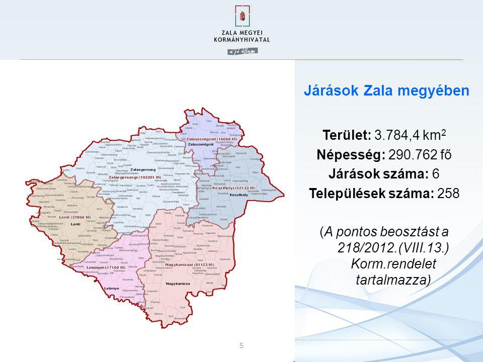 J Járások Zala megyében Terület: 3.784,4 km 2 Népesség: 290.762 fő Járások száma: 6 Települések száma: 258 (A pontos beosztást a 218/2012.(VIII.13.) K