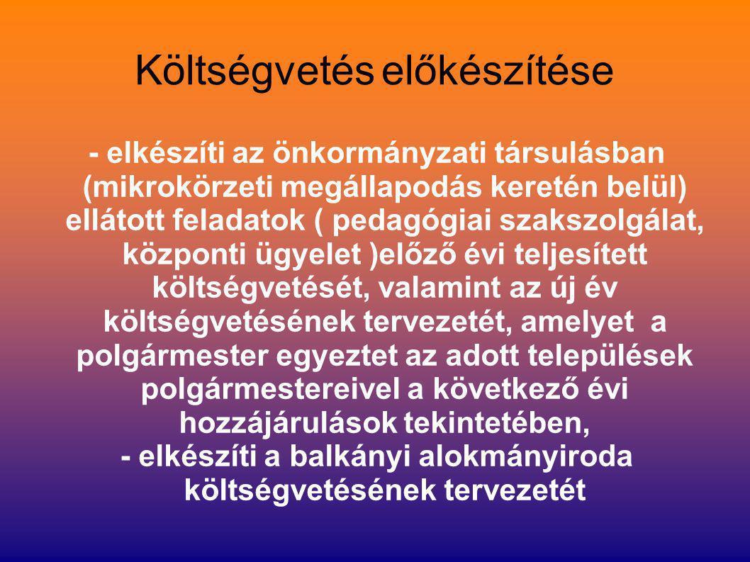 Költségvetés előkészítése - elkészíti az önkormányzati társulásban (mikrokörzeti megállapodás keretén belül) ellátott feladatok ( pedagógiai szakszolg
