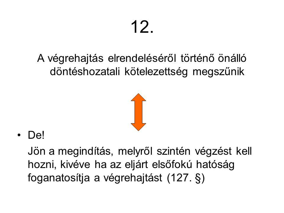 12.A végrehajtás elrendeléséről történő önálló döntéshozatali kötelezettség megszűnik De.
