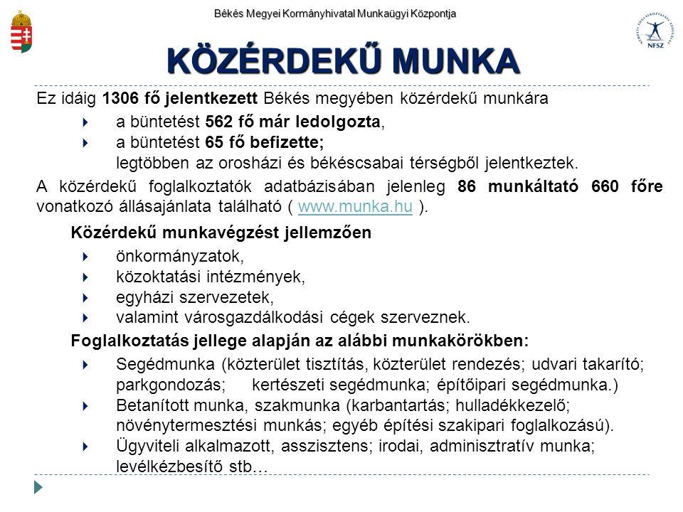 Békés Megyei Kormányhivatal Munkaügyi Központja KÖZÉRDEKŰ MUNKA Ez idáig 1306 fő jelentkezett Békés megyében közérdekű munkára  a büntetést 562 fő má
