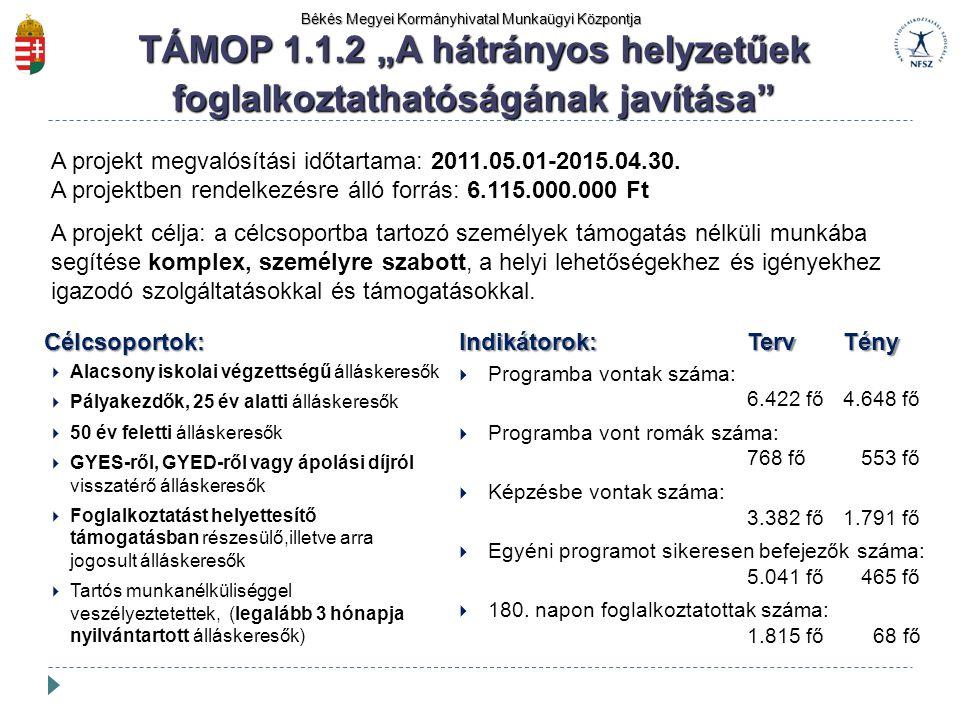 Békés Megyei Kormányhivatal Munkaügyi Központja A projekt megvalósítási időtartama: 2011.05.01-2015.04.30. A projektben rendelkezésre álló forrás: 6.1