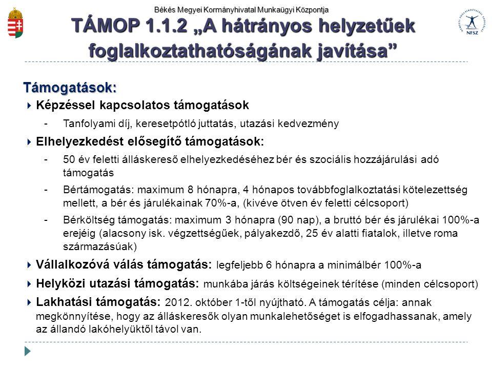 """Békés Megyei Kormányhivatal Munkaügyi Központja TÁMOP 1.1.2 """"A hátrányos helyzetűek foglalkoztathatóságának javítása"""" Támogatások:  Képzéssel kapcsol"""