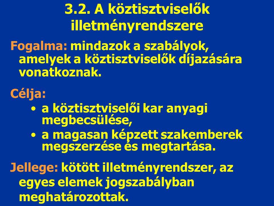 3.2. A köztisztviselők illetményrendszere Fogalma: mindazok a szabályok, amelyek a köztisztviselők díjazására vonatkoznak. Célja: a köztisztviselői ka