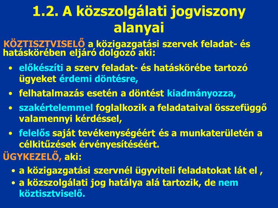 2.A közszolgálati jogviszony tartalma 2.1. A köztisztviselők kötelezettségei 2.2.