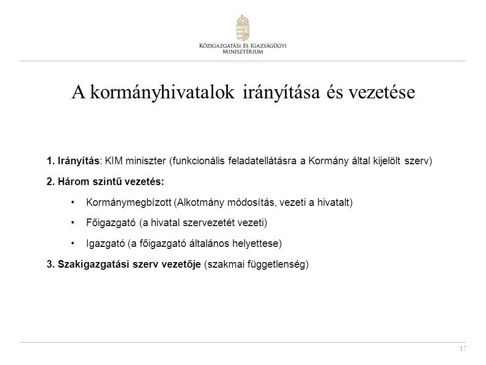 17 A kormányhivatalok irányítása és vezetése 1. Irányítás: KIM miniszter (funkcionális feladatellátásra a Kormány által kijelölt szerv) 2. Három szint