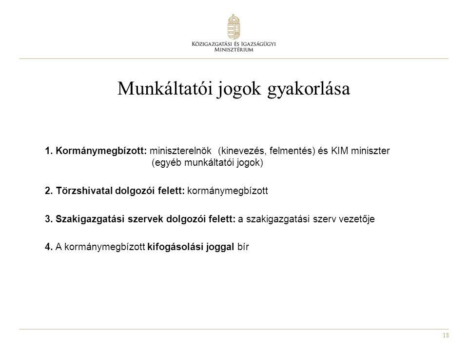 18 Munkáltatói jogok gyakorlása 1. Kormánymegbízott: miniszterelnök (kinevezés, felmentés) és KIM miniszter (egyéb munkáltatói jogok) 2. Törzshivatal