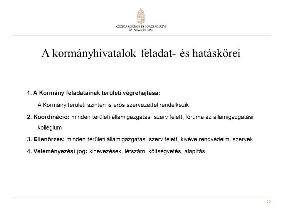 20 A kormányhivatalok feladat- és hatáskörei 1. A Kormány feladatainak területi végrehajtása: A Kormány területi szinten is erős szervezettel rendelke