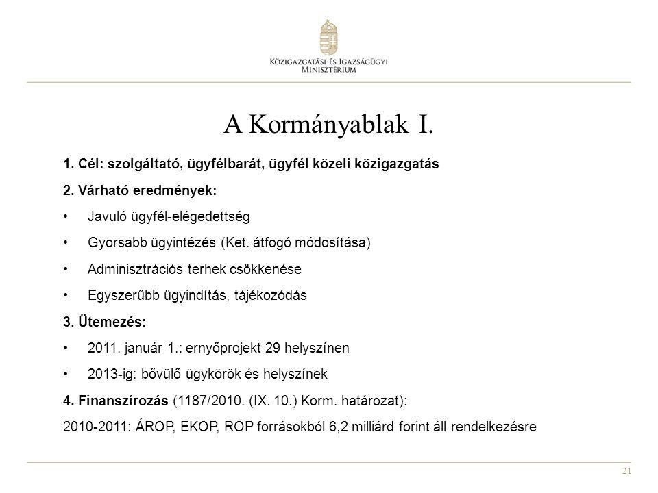 21 A Kormányablak I. 1. Cél: szolgáltató, ügyfélbarát, ügyfél közeli közigazgatás 2. Várható eredmények: Javuló ügyfél-elégedettség Gyorsabb ügyintézé