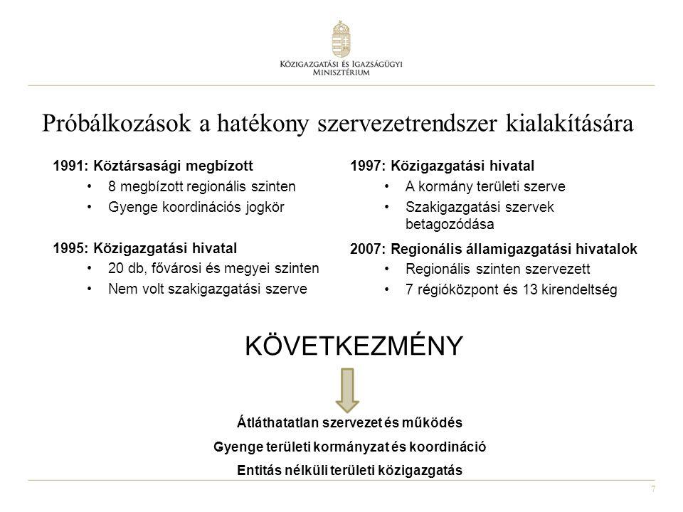 7 1991: Köztársasági megbízott 8 megbízott regionális szinten Gyenge koordinációs jogkör 1995: Közigazgatási hivatal 20 db, fővárosi és megyei szinten