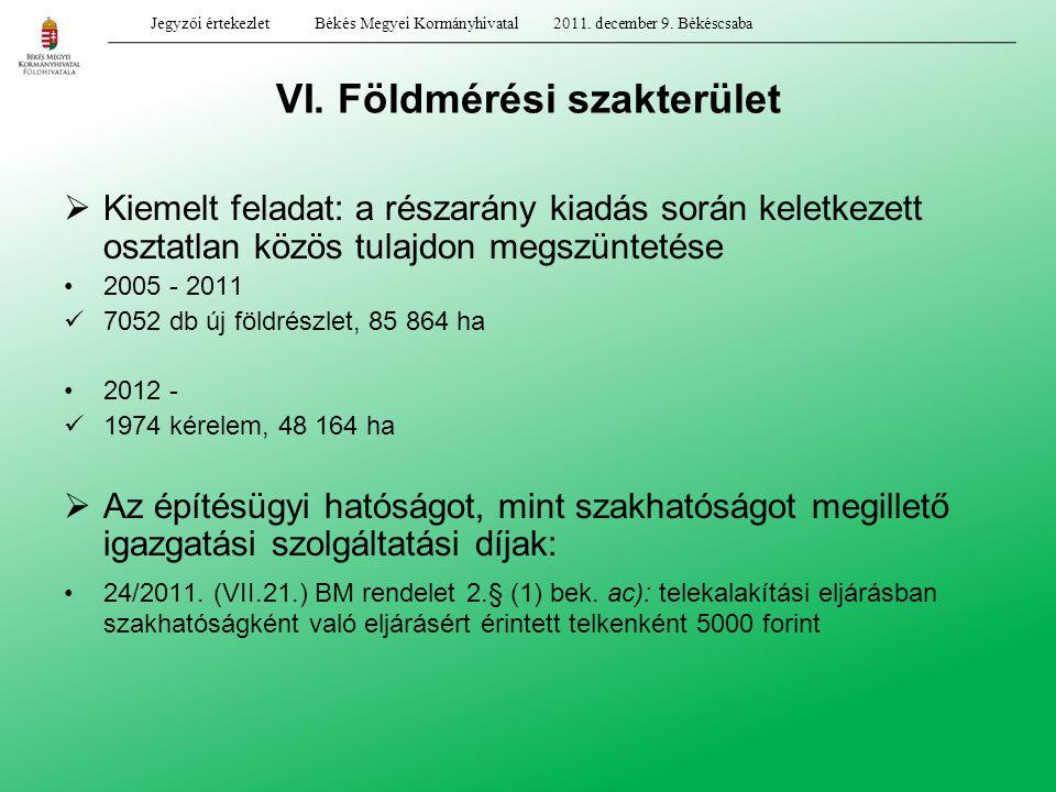 VI. Földmérési szakterület  Kiemelt feladat: a részarány kiadás során keletkezett osztatlan közös tulajdon megszüntetése 2005 - 2011 7052 db új földr