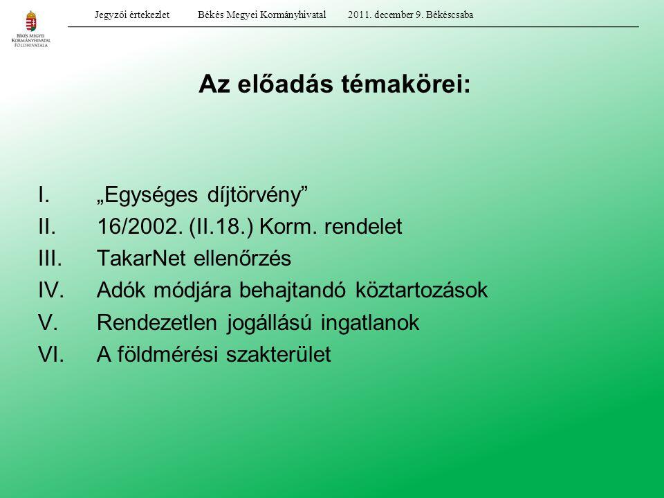 """Az előadás témakörei: I.""""Egységes díjtörvény"""" II.16/2002. (II.18.) Korm. rendelet III.TakarNet ellenőrzés IV.Adók módjára behajtandó köztartozások V.R"""