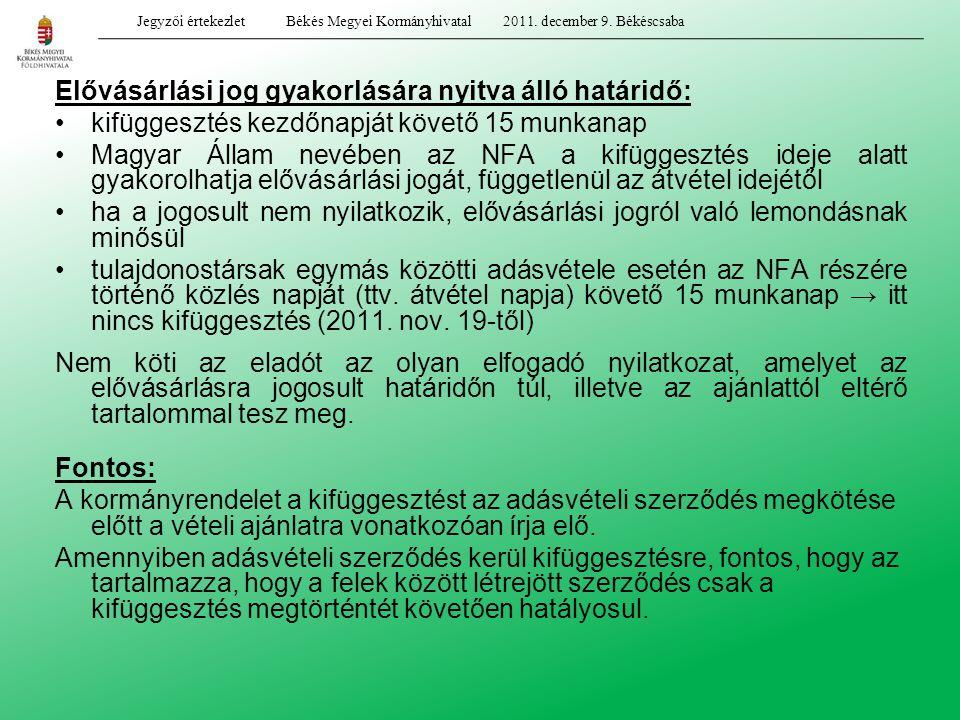 Elővásárlási jog gyakorlására nyitva álló határidő: kifüggesztés kezdőnapját követő 15 munkanap Magyar Állam nevében az NFA a kifüggesztés ideje alatt