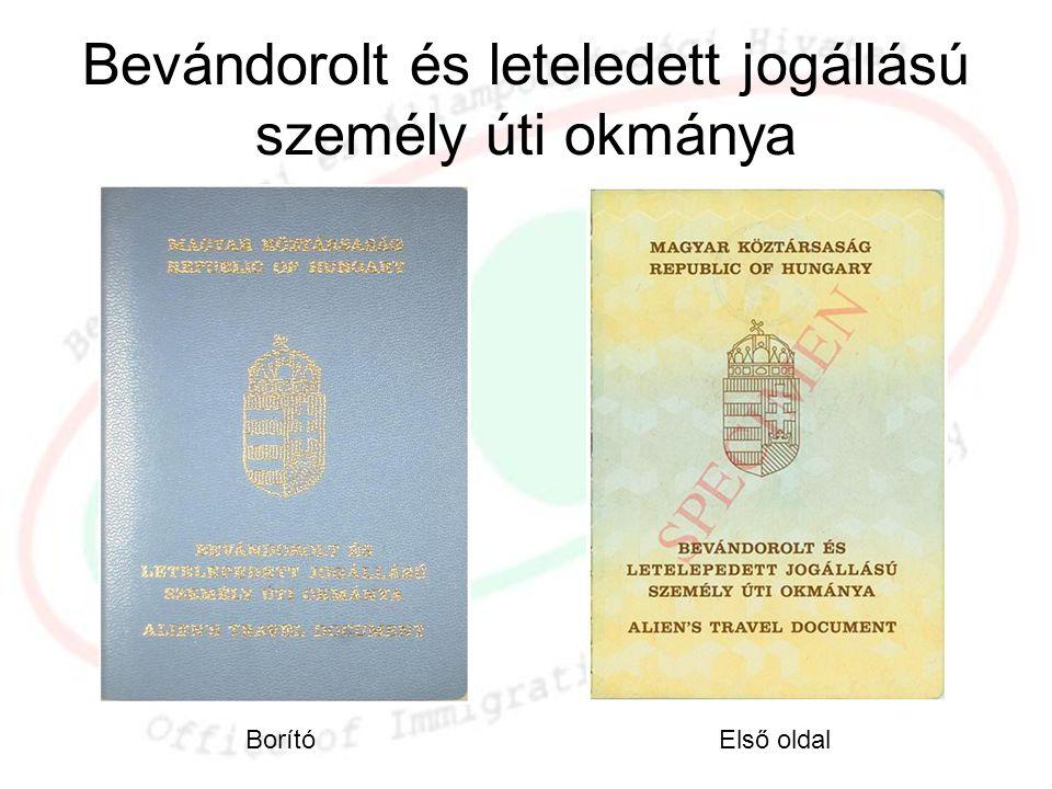 Bevándorolt és leteledett jogállású személy úti okmánya BorítóElső oldal