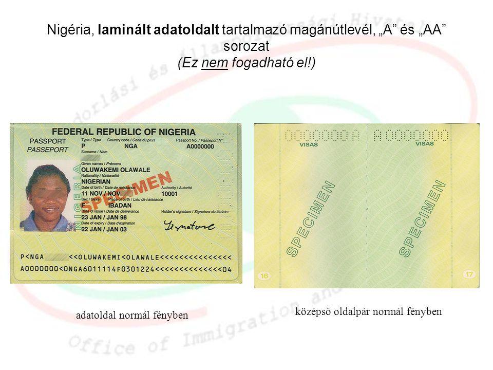 """adatoldal normál fényben Nigéria, laminált adatoldalt tartalmazó magánútlevél, """"A"""" és """"AA"""" sorozat (Ez nem fogadható el!) középső oldalpár normál fény"""