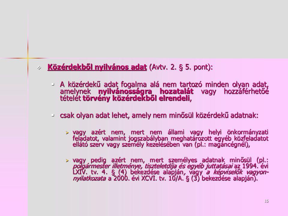 15  Közérdekből nyilvános adat (Avtv. 2. § 5.