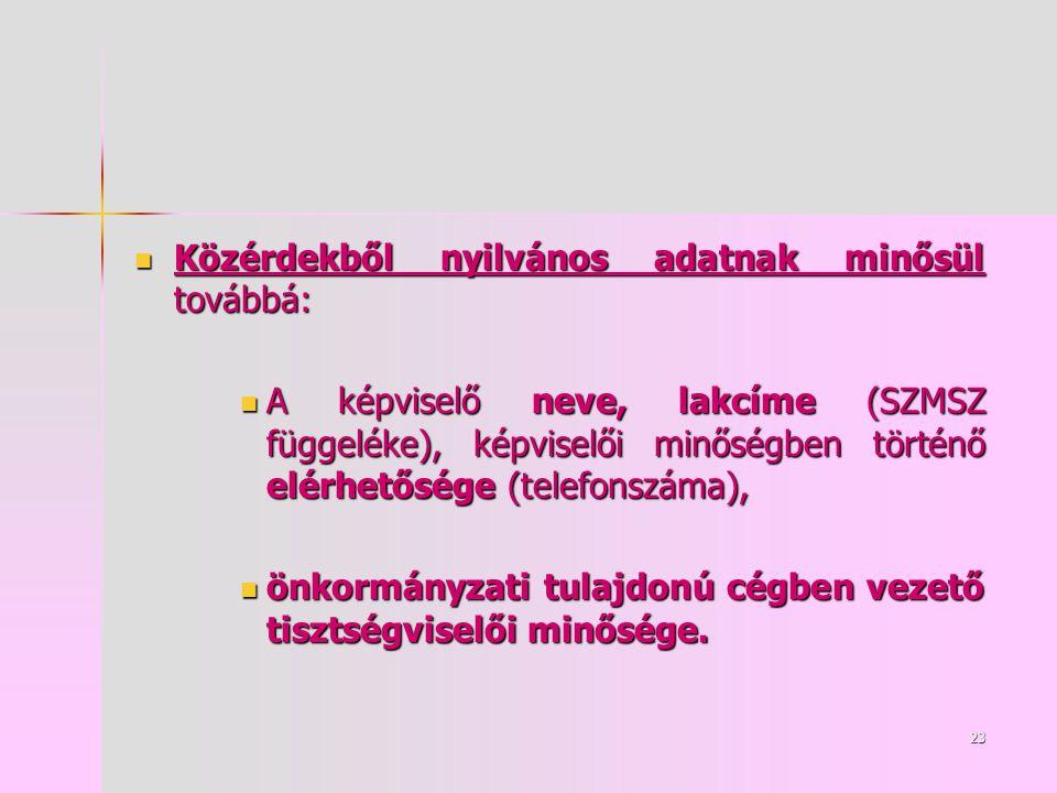 23 Közérdekből nyilvános adatnak minősül továbbá: Közérdekből nyilvános adatnak minősül továbbá: A képviselő neve, lakcíme (SZMSZ függeléke), képviselői minőségben történő elérhetősége (telefonszáma), A képviselő neve, lakcíme (SZMSZ függeléke), képviselői minőségben történő elérhetősége (telefonszáma), önkormányzati tulajdonú cégben vezető tisztségviselői minősége.