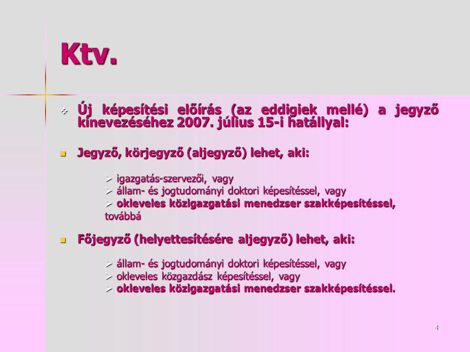 4 Ktv.  Új képesítési előírás (az eddigiek mellé) a jegyző kinevezéséhez 2007.