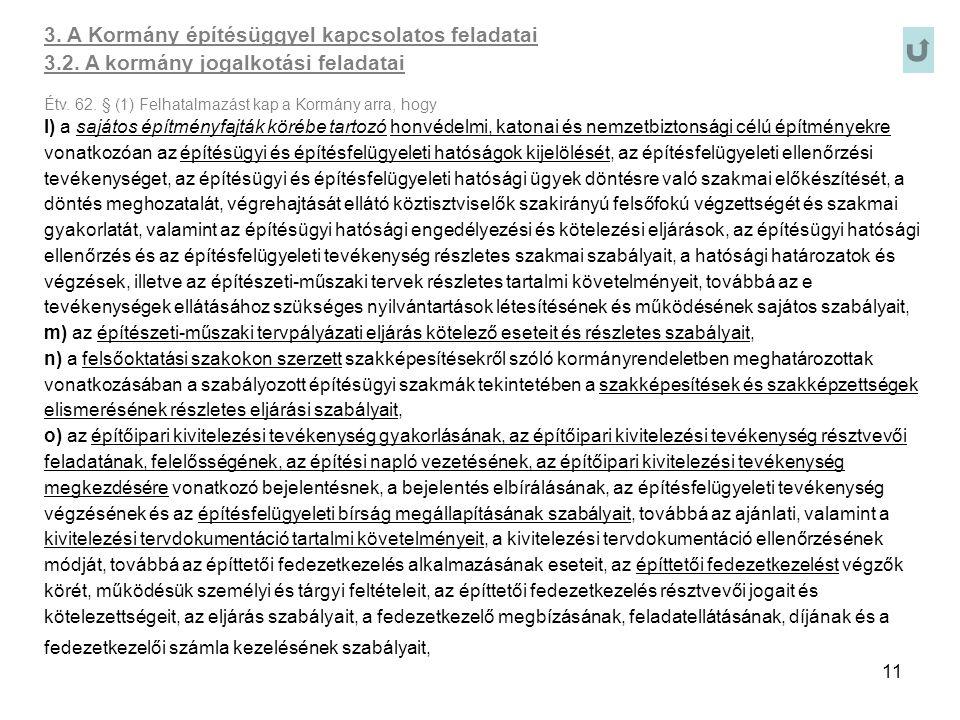 11 3. A Kormány építésüggyel kapcsolatos feladatai 3.2. A kormány jogalkotási feladatai Étv. 62. § (1) Felhatalmazást kap a Kormány arra, hogy l) a sa