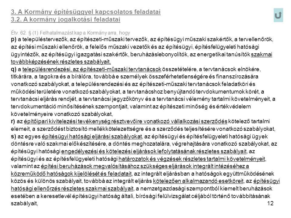12 3. A Kormány építésüggyel kapcsolatos feladatai 3.2. A kormány jogalkotási feladatai Étv. 62. § (1) Felhatalmazást kap a Kormány arra, hogy p) a te