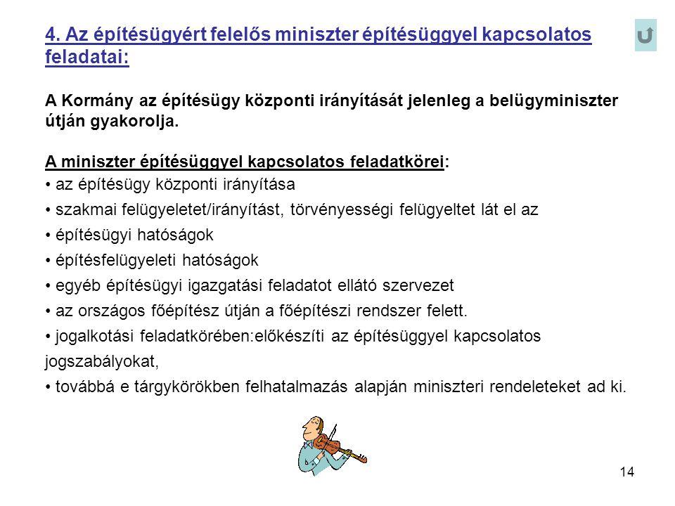 14 4. Az építésügyért felelős miniszter építésüggyel kapcsolatos feladatai: A Kormány az építésügy központi irányítását jelenleg a belügyminiszter útj