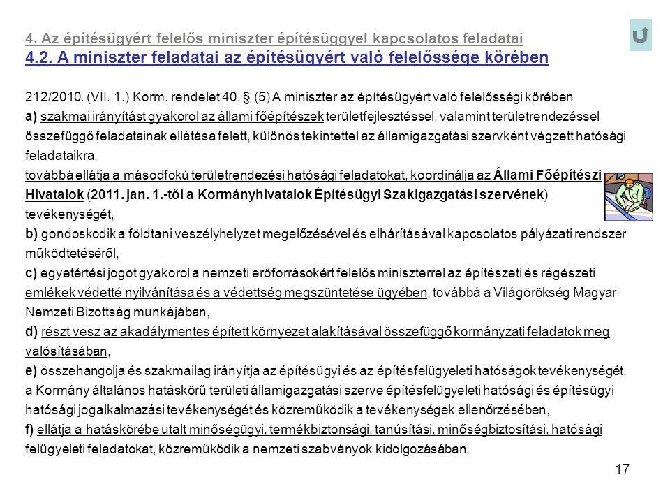17 4. Az építésügyért felelős miniszter építésüggyel kapcsolatos feladatai 4.2. A miniszter feladatai az építésügyért való felelőssége körében 212/201