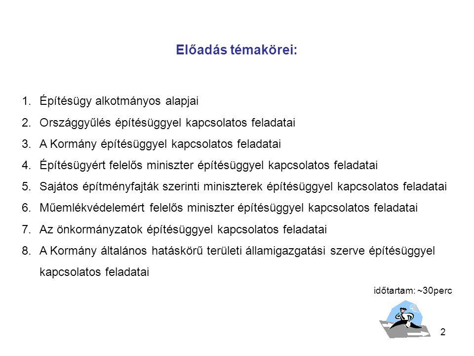 3 1.Az építésügy alkotmányos alapjai A Magyar Köztársaság Alkotmánya az 1949.