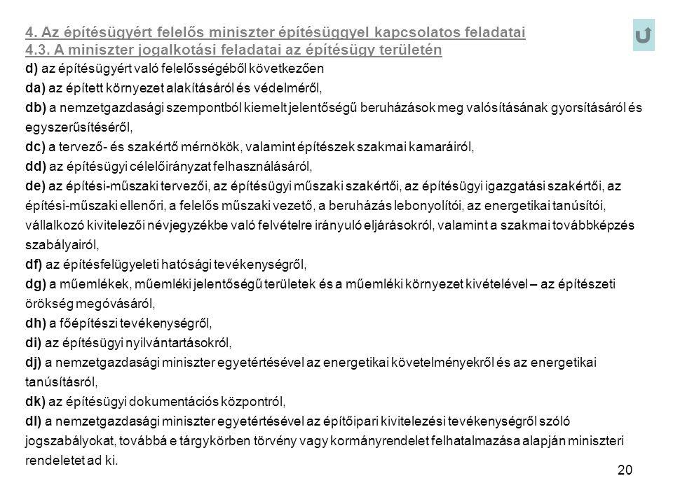 20 4. Az építésügyért felelős miniszter építésüggyel kapcsolatos feladatai 4.3. A miniszter jogalkotási feladatai az építésügy területén d) az építésü
