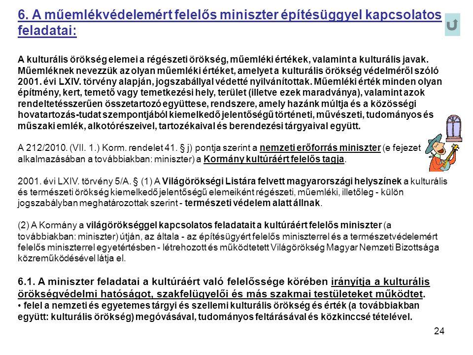 24 6. A műemlékvédelemért felelős miniszter építésüggyel kapcsolatos feladatai: A kulturális örökség elemei a régészeti örökség, műemléki értékek, val