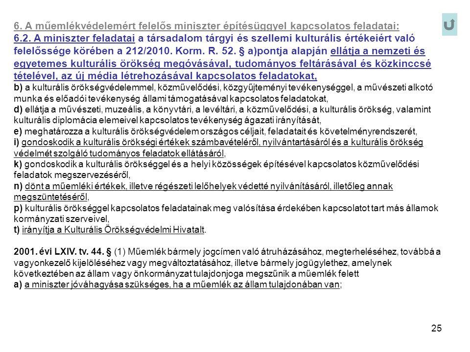 25 6. A műemlékvédelemért felelős miniszter építésüggyel kapcsolatos feladatai: 6.2. A miniszter feladatai a társadalom tárgyi és szellemi kulturális