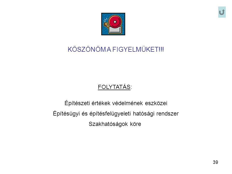 39 KÖSZÖNÖM A FIGYELMÜKET!!! FOLYTATÁS: Építészeti értékek védelmének eszközei Építésügyi és építésfelügyeleti hatósági rendszer Szakhatóságok köre