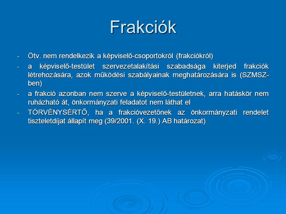 Frakciók - Ötv.