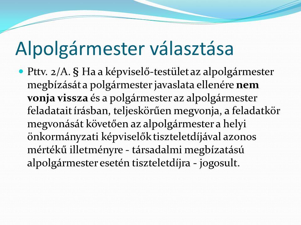 Alpolgármester választása Pttv.2/A.