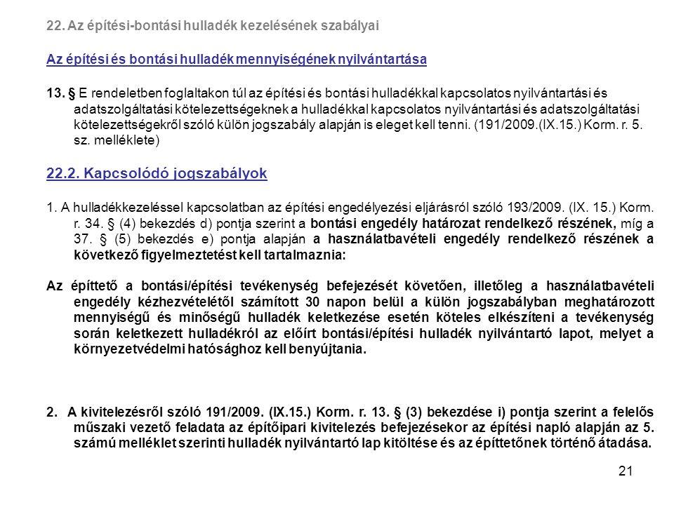 21 22. Az építési-bontási hulladék kezelésének szabályai Az építési és bontási hulladék mennyiségének nyilvántartása 13. § E rendeletben foglaltakon t