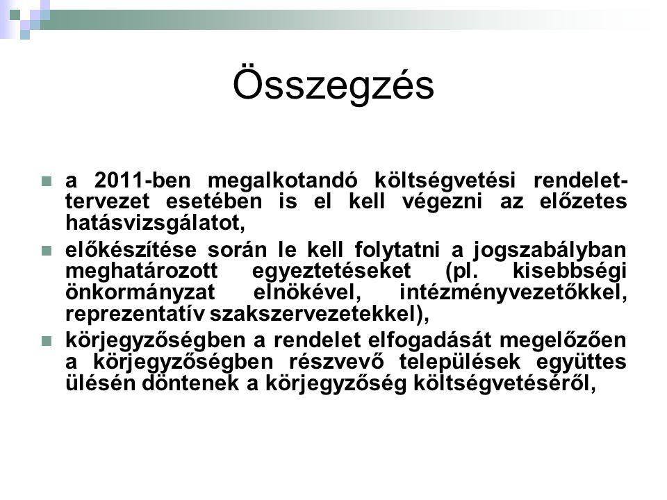 Összegzés a 2011-ben megalkotandó költségvetési rendelet- tervezet esetében is el kell végezni az előzetes hatásvizsgálatot, előkészítése során le kel