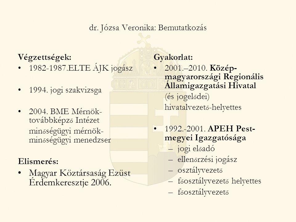 dr. Józsa Veronika: Bemutatkozás Végzettségek: 1982-1987.ELTE ÁJK jogász 1994. jogi szakvizsga 2004. BME Mérnök- továbbképz ő Intézet min ő ségügyi mé