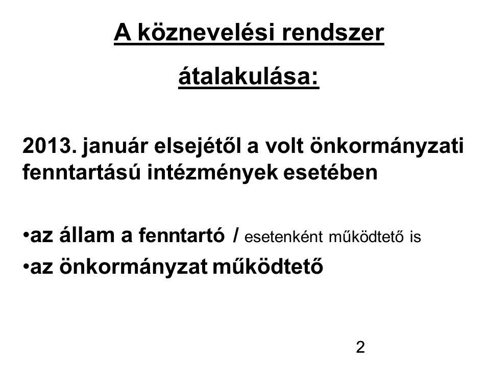 2 2013. január elsejétől a volt önkormányzati fenntartású intézmények esetében az állam a fenntartó / esetenként működtető is az önkormányzat működtet