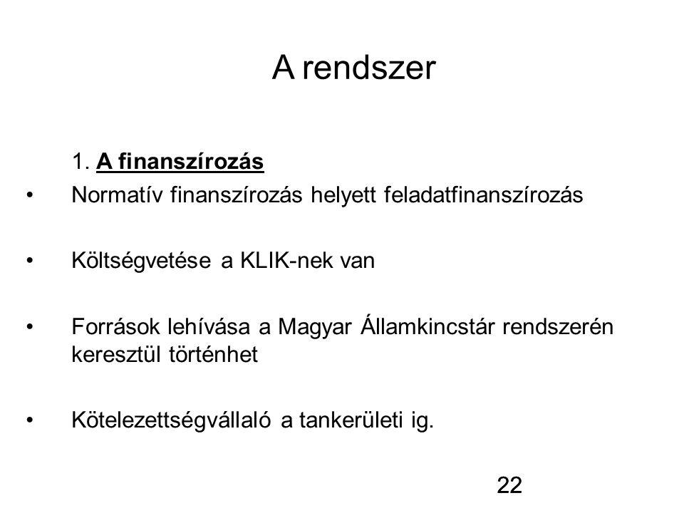 22 A rendszer 1. A finanszírozás Normatív finanszírozás helyett feladatfinanszírozás Költségvetése a KLIK-nek van Források lehívása a Magyar Államkinc