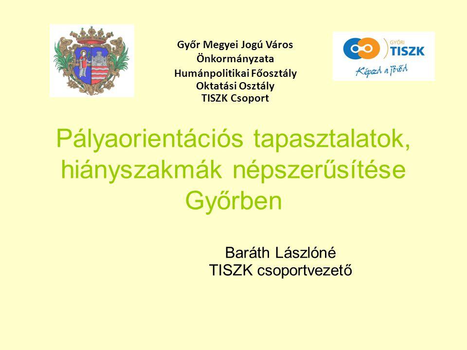 Pályaorientációs tapasztalatok, hiányszakmák népszerűsítése Győrben Baráth Lászlóné TISZK csoportvezető Győr Megyei Jogú Város Önkormányzata Humánpoli