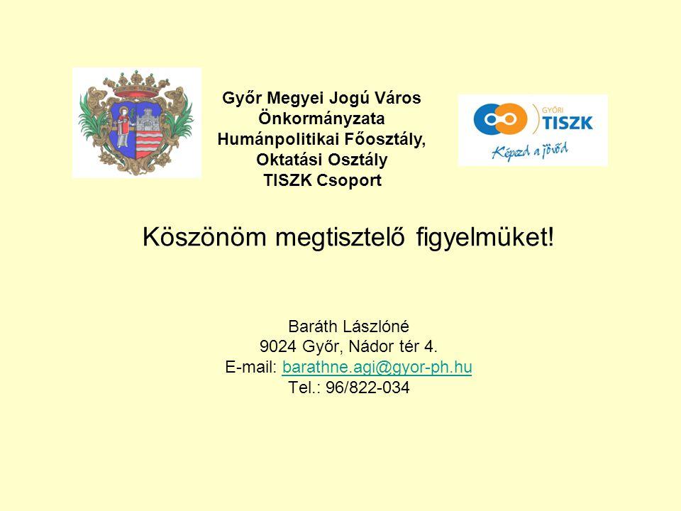 Köszönöm megtisztelő figyelmüket! Baráth Lászlóné 9024 Győr, Nádor tér 4. E-mail: barathne.agi@gyor-ph.hubarathne.agi@gyor-ph.hu Tel.: 96/822-034 Győr