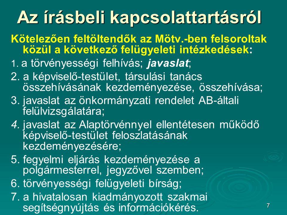 7 Az írásbeli kapcsolattartásról Kötelezően feltöltendők az Mötv.-ben felsoroltak közül a következő felügyeleti intézkedések: 1. a törvényességi felhí