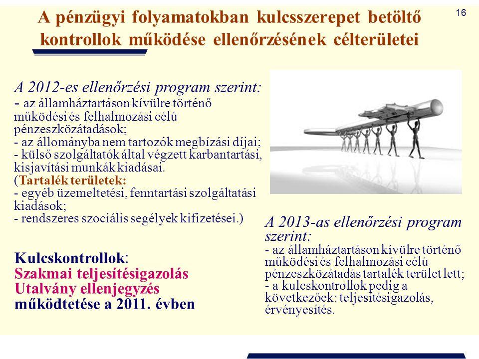 16 A pénzügyi folyamatokban kulcsszerepet betöltő kontrollok működése ellenőrzésének célterületei A 2012-es ellenőrzési program szerint: - az államház