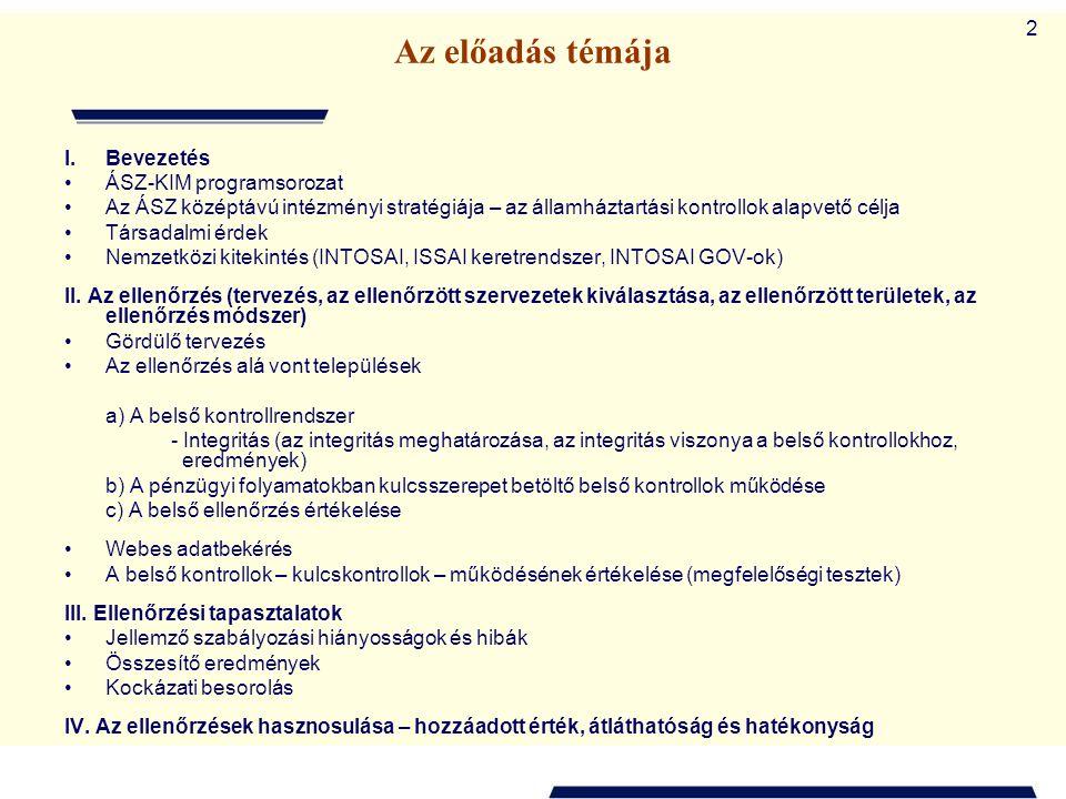 13 Minden dolgozó Szervezeti egység Egész szervezet Törvényi megfelelés Működési hatékonyság Közpénzek védelme Kontrollkörnyezet Kockázatértékelés Kontrolltevékenység Információ, kommunikáció A belső kontrollrendszer Cél: Átláthatóság, rendezettség, integritás Monitoring