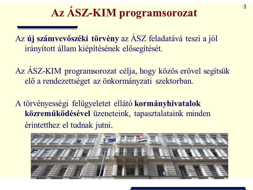 3 Az ÁSZ-KIM programsorozat Az új számvevőszéki törvény az ÁSZ feladatává teszi a jól irányított állam kiépítésének elősegítését. Az ÁSZ-KIM programso