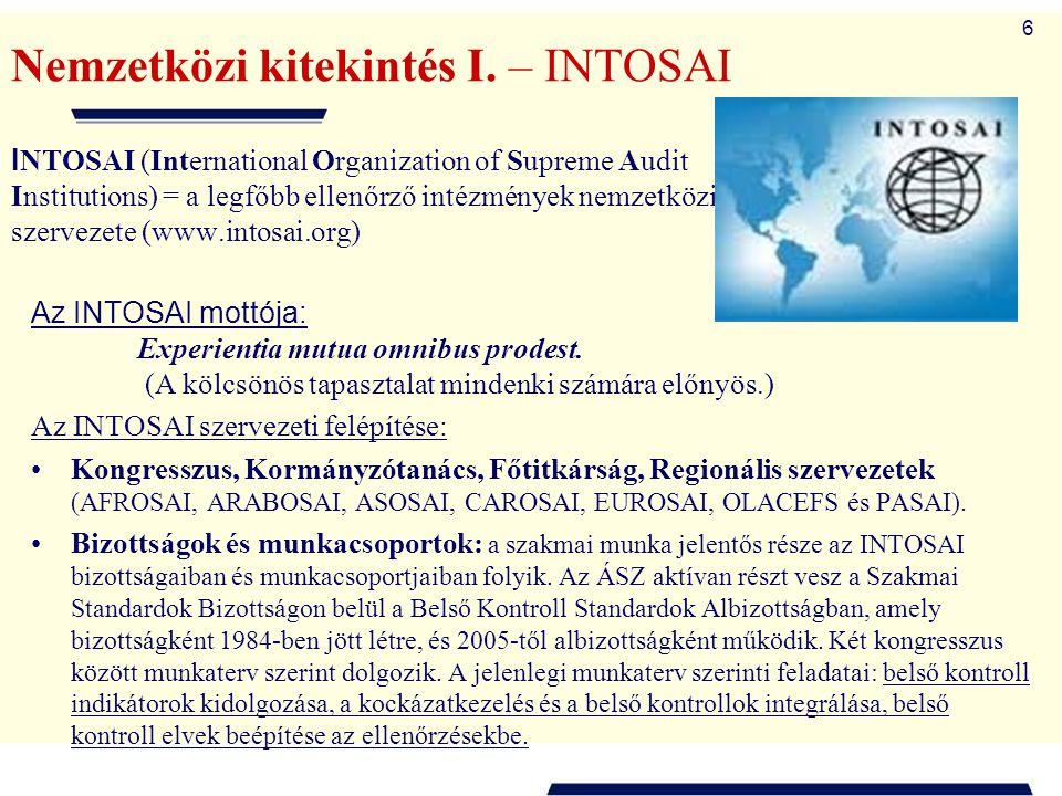 6 Nemzetközi kitekintés I. – INTOSAI I NTOSAI (International Organization of Supreme Audit Institutions) = a legfőbb ellenőrző intézmények nemzetközi