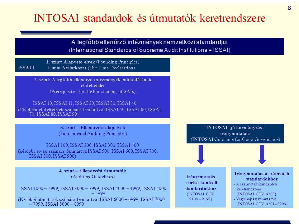 8 INTOSAI standardok és útmutatók keretrendszere A legfőbb ellenőrző intézmények nemzetközi standardjai (International Standards of Supreme Audit Inst