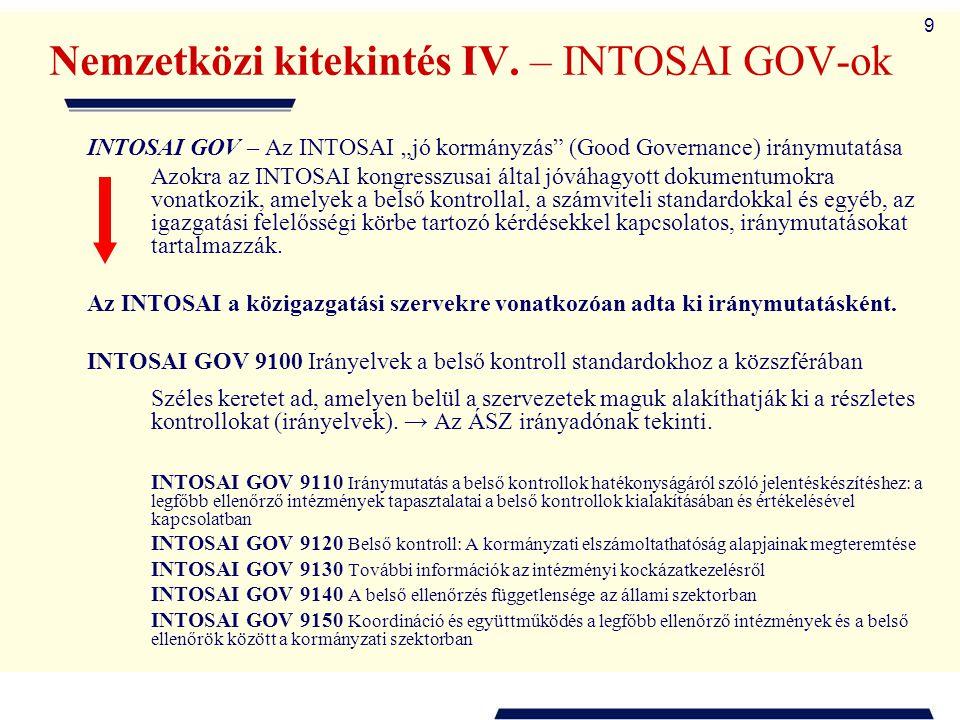 """9 Nemzetközi kitekintés IV. – INTOSAI GOV-ok INTOSAI GOV – Az INTOSAI """"jó kormányzás"""" (Good Governance) iránymutatása Azokra az INTOSAI kongresszusai"""