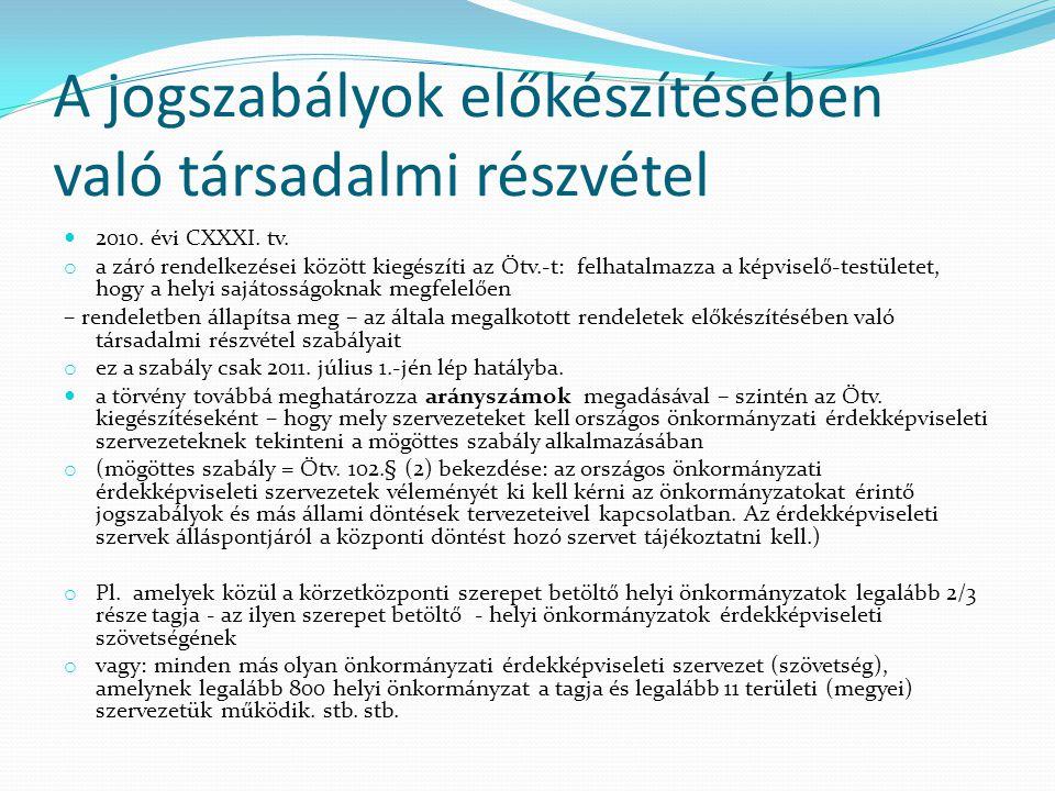 A jogszabályok előkészítésében való társadalmi részvétel 2010. évi CXXXI. tv. o a záró rendelkezései között kiegészíti az Ötv.-t: felhatalmazza a képv
