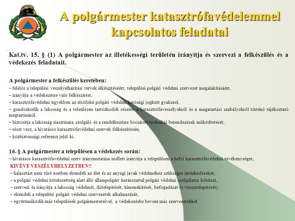 A polgármester katasztrófavédelemmel kapcsolatos feladatai Kat.tv. 15. § (1) A polgármester az illetékességi területén irányítja és szervezi a felkész
