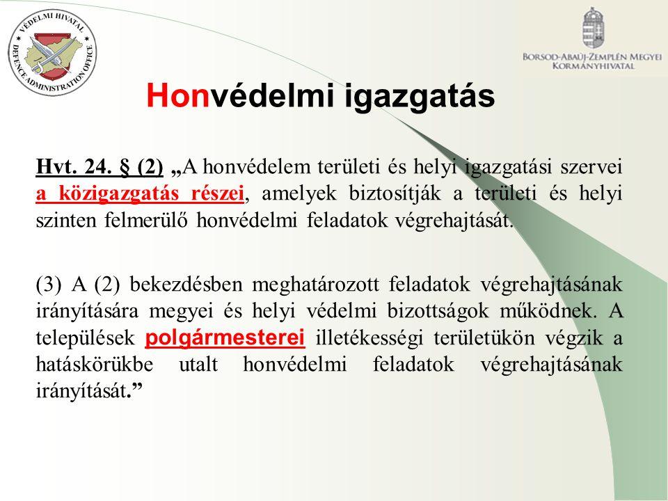 """Honvédelmi igazgatás Hvt. 24. § (2) """"A honvédelem területi és helyi igazgatási szervei a közigazgatás részei, amelyek biztosítják a területi és helyi"""