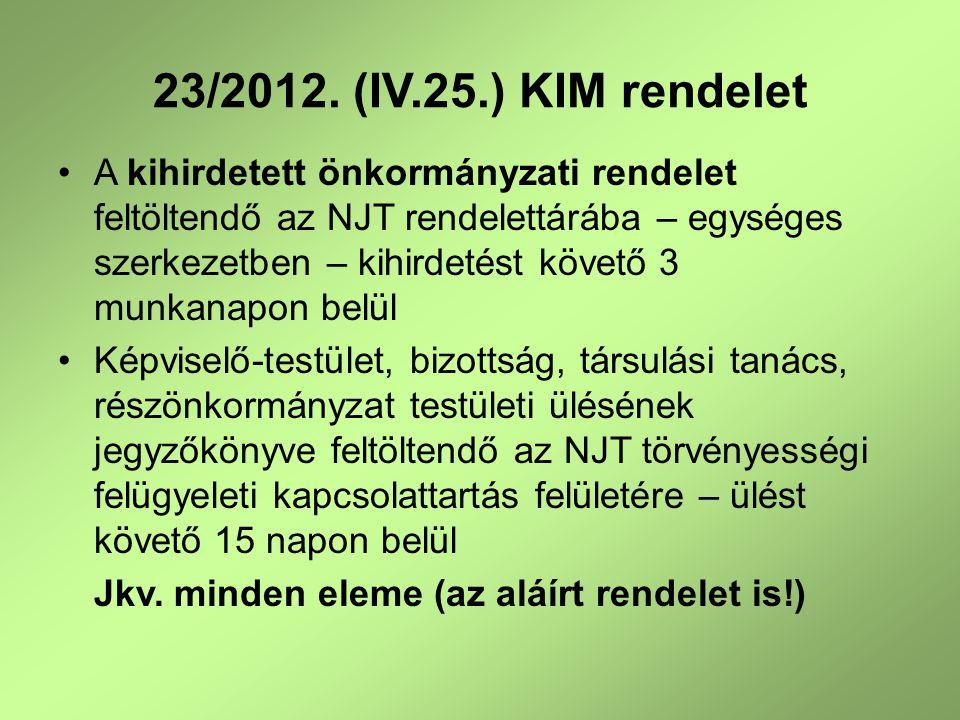 23/2012.(IV.25.) KIM rendelet 2014.